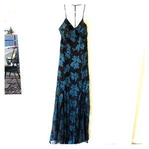 Black Sheer Dress with Blue Velvet Flower Pattern